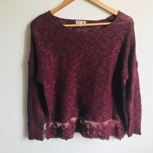 Nordstrom Woven Heart Burgundy Sweater w/lace